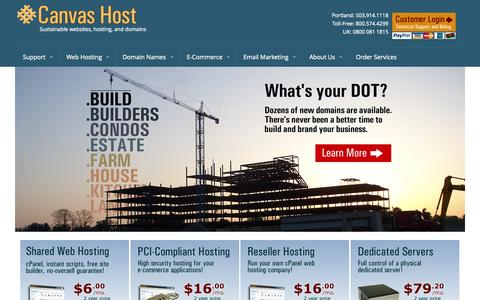 Screenshot of Home Page canvashost.com - Sustainable web hosting - Canvas Host - captured Sept. 24, 2014