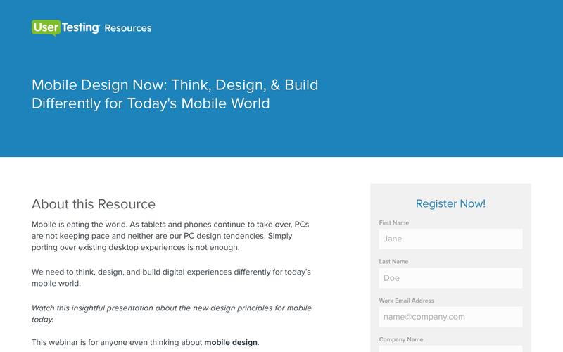 OnDemand Webinar - Mobile Design Now | UserTesting