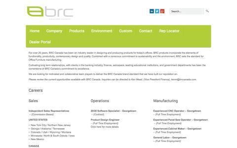 Screenshot of Jobs Page brccanada.com captured Sept. 30, 2014