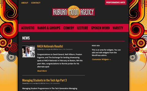 Screenshot of Press Page auburnmoonagency.com - News   Auburn Moon Agency - captured Sept. 30, 2014