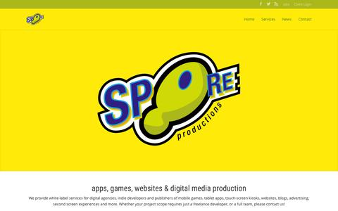 Screenshot of Home Page sporeproductions.com - SPORE Productions | apps, games, second screens, Flash, Adobe AIR, HTML5, websites and digital media production services - captured June 16, 2015