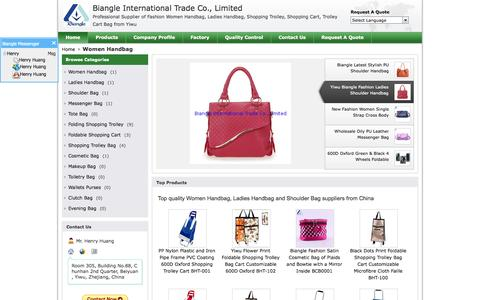 Screenshot of Home Page ywbiangle.com - Top Quality Women Handbag & Ladies Handbag Supplier - captured Oct. 5, 2014