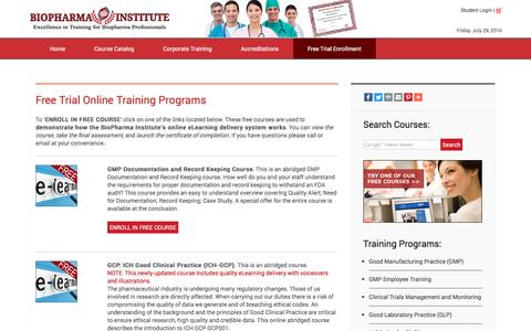 Screenshot of Trial Page biopharmainstitute.com - Free Trial Enrollment – BioPharma Institute offers web-based, online training courses for clinical, laboratory, and pharmaceutical professionals - captured July 29, 2016