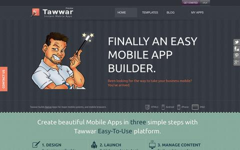 Screenshot of Home Page tawwar.com - Tawwar | Mobile Apps Builder and CMS | - captured Oct. 10, 2014