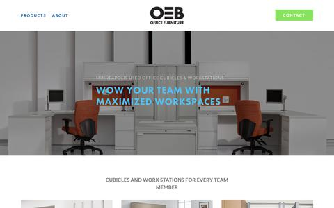 Screenshot of Products Page oebinc.com - Cubicles and Work Stations — OEB | Used Office Furniture Minneapolis - captured Oct. 18, 2018