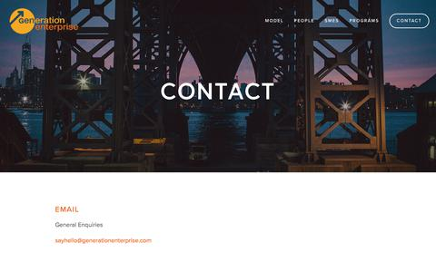 Screenshot of Contact Page generationenterprise.org - Contact — Generation Enterprise - captured July 17, 2018