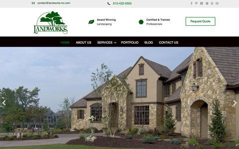 Screenshot of Home Page landworks-inc.com - Landworks, Inc - Landscaping, Irrigation, Lawn Care Services, Kansas City - captured July 16, 2018