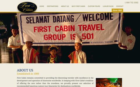 Screenshot of About Page firstcabin.com - About us - First Cabin. Your Passport to Excellence. - captured Oct. 6, 2014