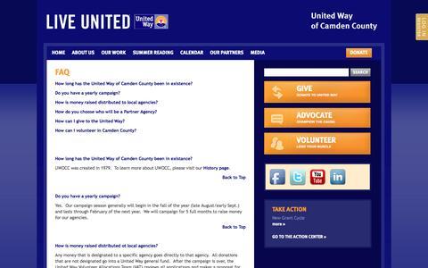 Screenshot of FAQ Page uwocc.org - FAQ | United Way of Camden County - captured Oct. 27, 2014
