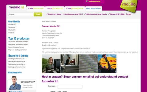 Screenshot of Contact Page maxilia.nl - Contact - Maxilia BV Relatiegeschenken in Rhenen - captured Oct. 27, 2014