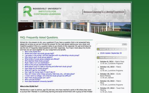 Screenshot of FAQ Page iclru.org - ICLRU : FAQ    ICLRU - captured Oct. 6, 2014
