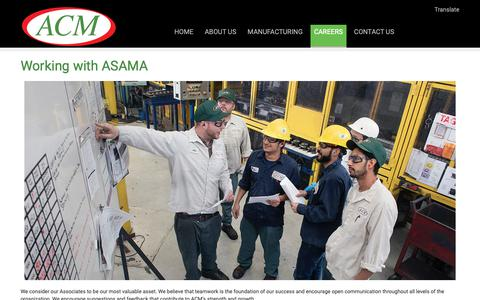 Screenshot of Jobs Page asamacm.com - Working with ASAMA | Asama - captured Oct. 4, 2018