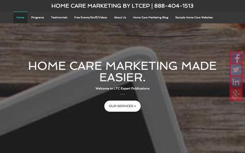 Screenshot of Home Page Site Map Page ltcsocialmark.com - Home Care Marketing by LTCEP | 888-404-1513 - captured Oct. 1, 2014