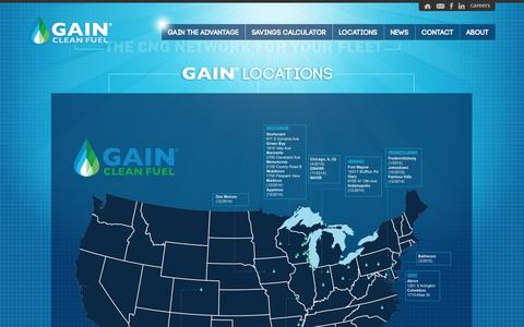 Screenshot of Locations Page gainfuel.com - Alternative Fuels | CNG Stations | CNG Compressors | CNG Infrastructure | Fuel Finger | GAIN - captured Oct. 1, 2014