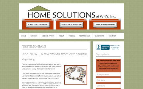 Screenshot of Testimonials Page homesolutionswny.com - Testimonials – Home Solutions of WNY, Inc. - captured Aug. 26, 2017