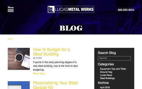 Screenshot of Blog lucasmetalworks.com - Lucas Metal Works | Blog | Built to Last - captured July 22, 2018