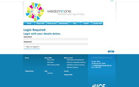 Screenshot of Login Page wisdominone.com.au - Login or Register - captured Oct. 9, 2014