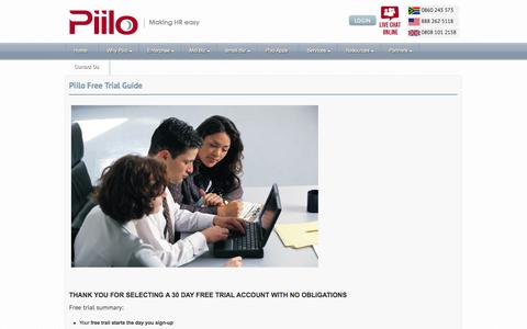 Screenshot of Trial Page piilosoftware.com - Piilo Free Trial Guide | Free 30 Day Trial | HR Management Software - captured Oct. 2, 2014