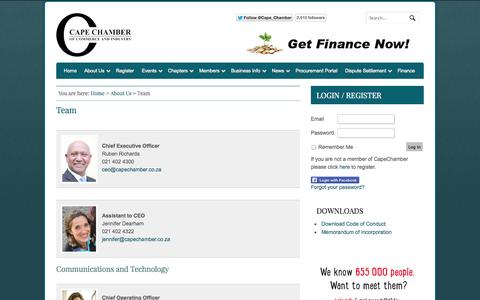 Screenshot of Team Page capetownchamber.com - Team | Cape Chamber of Commerce - captured Oct. 1, 2014