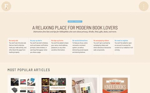 Screenshot of Home Page ebookfriendly.com - Ebook Friendly - A relaxing place for modern book lovers - captured Jan. 17, 2020