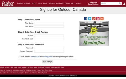Screenshot of Signup Page outdoorcanada.ca captured Nov. 2, 2015
