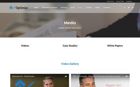 Screenshot of Press Page optimizeinc.net - Media - Optimize, Inc. - captured Dec. 7, 2016