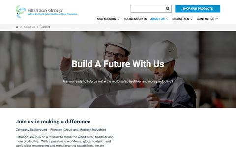 Screenshot of Jobs Page filtrationgroup.com - Careers - Filtration Group - captured Sept. 22, 2019