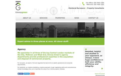 Screenshot of Services Page kinneygreen.com - Agency Services - kinney green - chartered surveyors + property consultants - captured Aug. 9, 2016