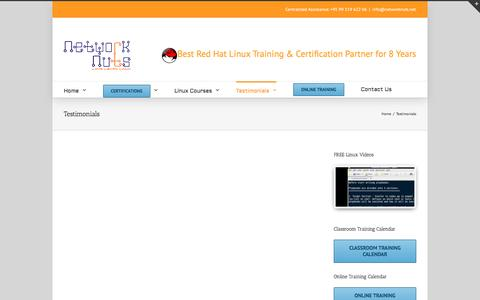 Screenshot of Testimonials Page networknuts-web.biz - Testimonials - Red Hat Linux Certification Courses   Linux Training   Online Linux Training - captured Aug. 12, 2016