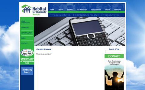 Screenshot of Jobs Page habitat.mb.ca - Contact | Habitat For Humanity® Manitoba | Families thrive. Communities prosper. Everyone wins. - captured Sept. 26, 2018