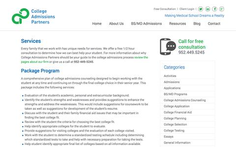 Screenshot of Services Page collegeadmissionspartners.com - Services - BS/MD Admissions by College Admissions Counseling - captured Sept. 30, 2014