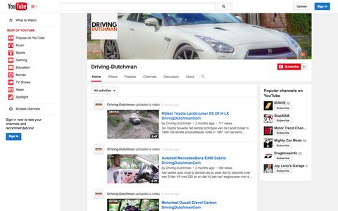 Screenshot of YouTube Page youtube.com - Driving-Dutchman  - YouTube - captured Oct. 25, 2014