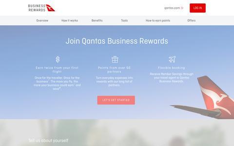 Screenshot of Signup Page qantasbusinessrewards.com - Join | Qantas Business Rewards - captured Nov. 2, 2018