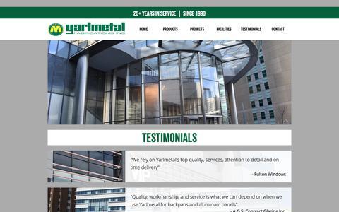 Screenshot of Testimonials Page yarlmetal.com - TESTIMONIALS :: Yarlmetal Fabrications Inc. - captured Nov. 12, 2018