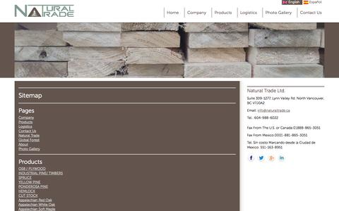 Screenshot of Site Map Page naturaltrade.ca - Sitemap | Natural Trade - captured Oct. 7, 2014