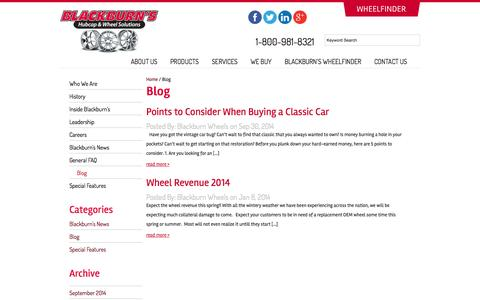 Screenshot of Blog blackburnwheels.com - Blog   Blackburns - captured Oct. 5, 2014