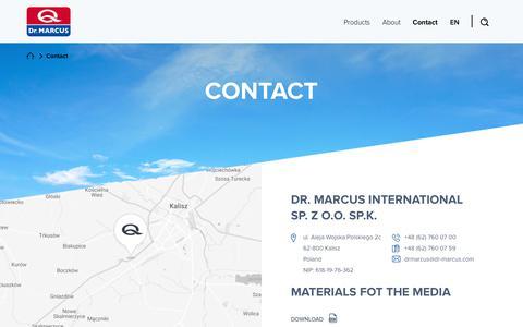 Screenshot of Contact Page dr-marcus.com - Contact - Producent odświeżaczy i zapachów samochodowych, kosmetyki - Dr.Marcus - captured Aug. 8, 2018