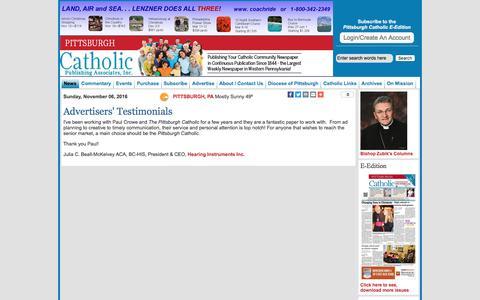 Screenshot of Testimonials Page pittsburghcatholic.org - Pittsburgh Catholic Newspaper - captured Nov. 6, 2016