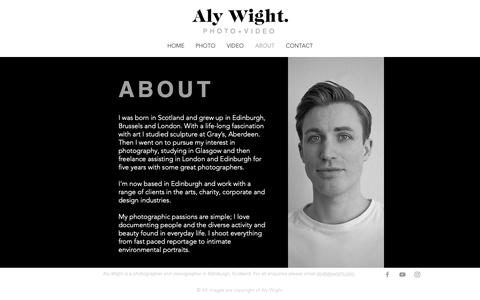 Screenshot of About Page alywight.com - ABOUT | Edinburgh, UK | Aly Wight Photographer & Videographer - captured Oct. 3, 2018