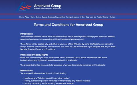Screenshot of Terms Page amerivestgroup.com - Amerivest Group   Florida Business Brokers   Sell Your Business - captured Nov. 6, 2018