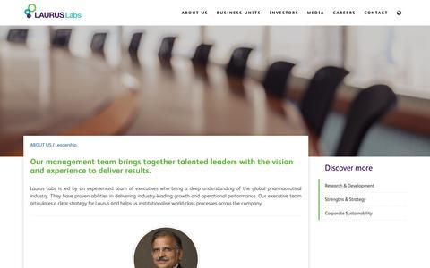 Screenshot of Team Page lauruslabs.com - Leadership | Laurus Labs - captured Dec. 7, 2018