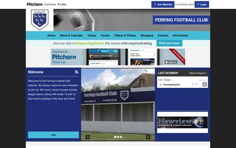 Screenshot of Home Page pitchero.com - FERRING FOOTBALL CLUB - captured Oct. 7, 2015