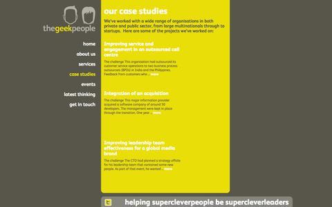 Screenshot of Case Studies Page thegeekpeople.com - Case studies   The Geek People - captured Oct. 29, 2014