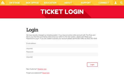Screenshot of Login Page rosetheater.org - Ticket Login  |  The Rose Theater - captured Oct. 20, 2018