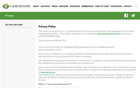 Screenshot of Privacy Page canegrowers.com.au - Privacy - Canegrowers - captured Sept. 26, 2018