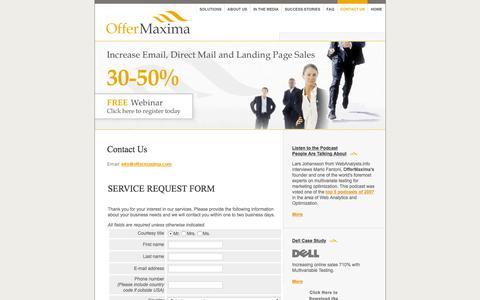 Screenshot of Contact Page offermaxima.com - OfferMaxima: Contact Us - captured Feb. 13, 2016