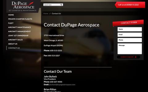 Screenshot of Contact Page dupageaerospace.com - Contact Us   DuPage Aerospace - captured Nov. 14, 2018