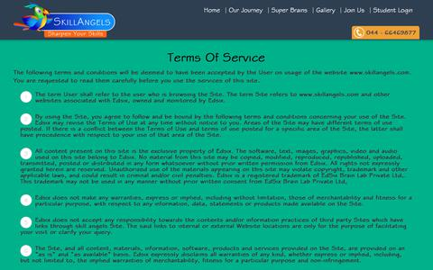 Screenshot of Terms Page skillangels.com - Terms Of Service | Skill Angels - captured Feb. 23, 2018