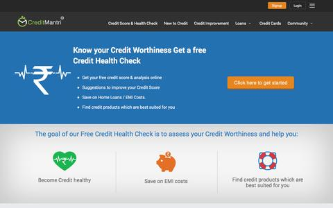 Screenshot of Services Page creditmantri.com - Free Credit Score Check   Cibil Rating   Credit Analysis - captured Feb. 1, 2016