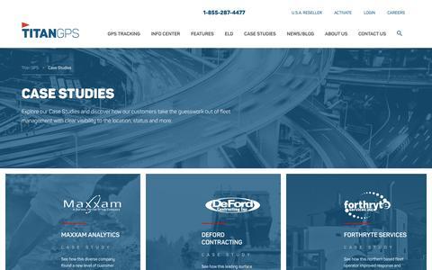 Screenshot of Case Studies Page titangps.ca - Archives: Case Studies | Titan GPS - captured Sept. 27, 2018
